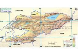 Kyrgyzstan Physical Map