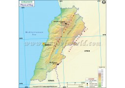 Lebanon Physical Map