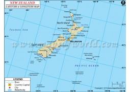 New Zealand Latitude and Longitude Map
