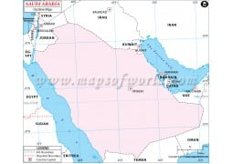 Blank Map of Saudi Arabia in Pink Color