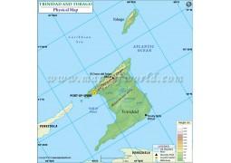 Trinidad and Tobago Physical Map