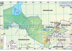 Uzbekistan Physical Map