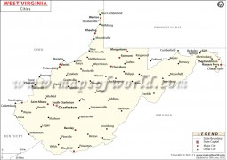 Map of  West Virginia Cities