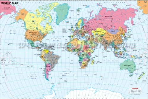 World Map With Major Cities