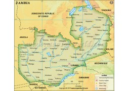Zambia Physical Dark Green Map