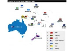 Australia and Oceania Countries Flag Map