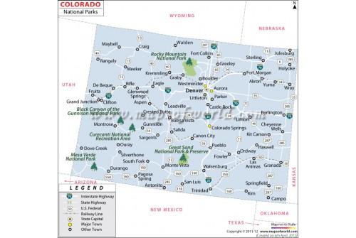 Map of Colorado National Parks