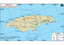 Jamaica Latitude and Longitude Map