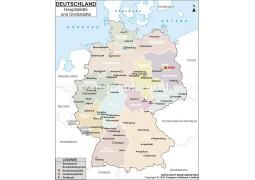 Karte der deutschen Hauptstadte und Grobstadte