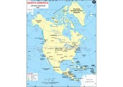 North AmericaLatitude and Longitude Map