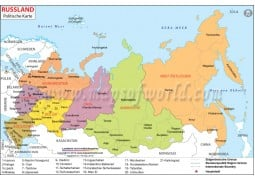Russland Politische Karte (Russia Political Map in German Language)