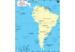 South America Longitude and Latitude Map with Countries