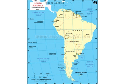 South America Longitudeand LatitudeMap with Countries