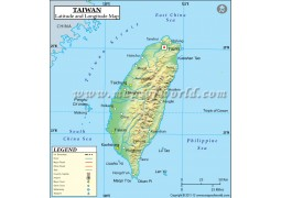Taiwan Latitude and Longitude Map