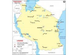 Map of Major Cities of Tanzania