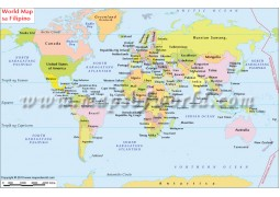 Mapa Ng Mundo (World Map in Philippines Language)