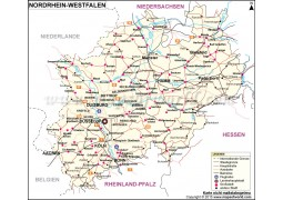 Nordrhein-Westfalen, North Rhine - Westphalia map
