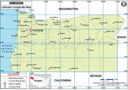 Oregon Latitude and Longitude Map