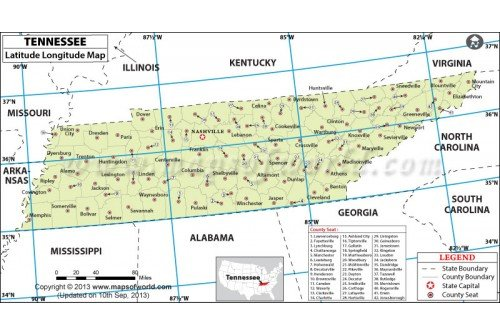 Tennessee Lat Long Map