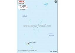 Tonga Outline Map