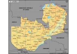 Zambia Latitude and Longitude Map