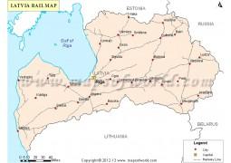 Latvia Rail Map