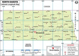 North Dakota Latitude and Longitude Map