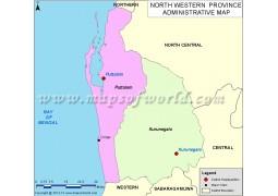 Sri Lanka North Western Province Map