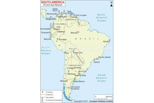 South America Oil and Gas Network Map