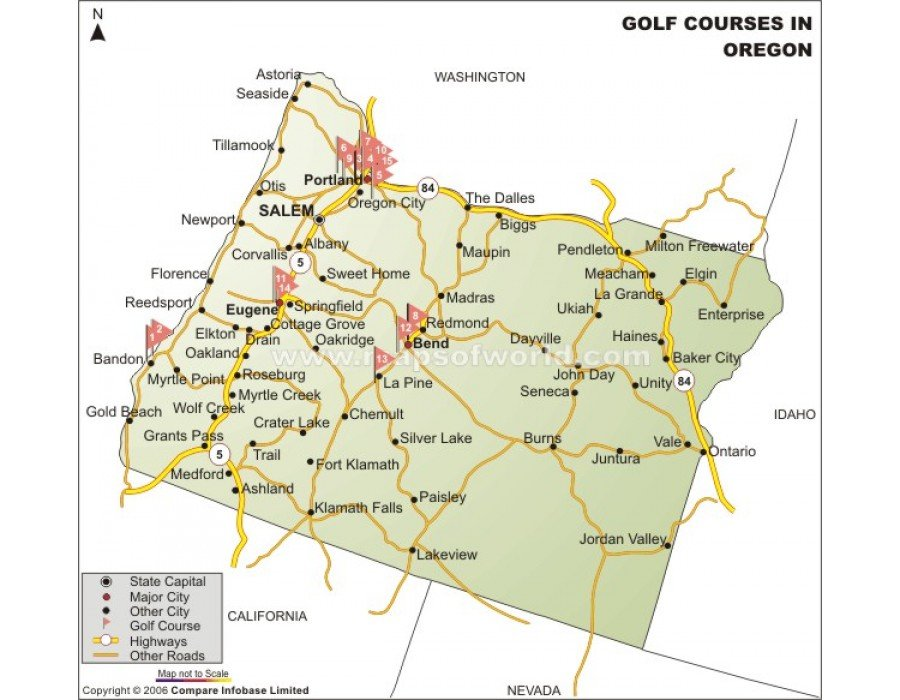 Buy Printed Oregon State Golf Course Map