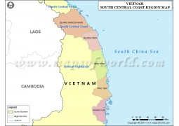 Map of South Central Coast Region, Vietnam