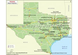 Texas Map with Major Hospitals
