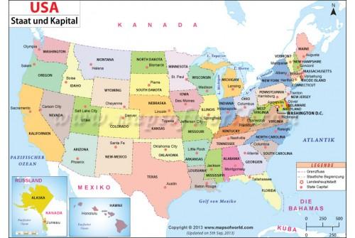 USA Staat und Kapital Karten (USA State and Capital Map)