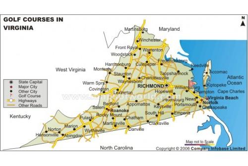 Virginia Golf Courses Map