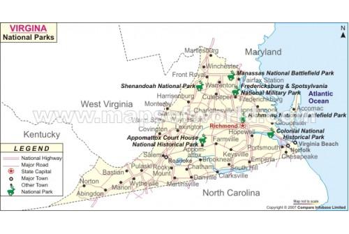 Virginia National Parks Map