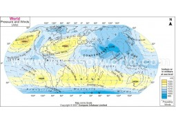 Air Pressure and Wind in July World Map