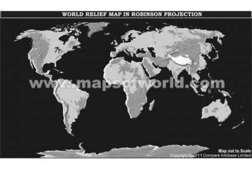 World Physical Map in Robinson Projection (Grayscale)