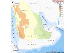 Physical Map of Saudi Arabia - Digital File