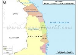 Map of South Central Coast Region, Vietnam - Digital File