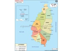 Saint Lucia Map in Spanish