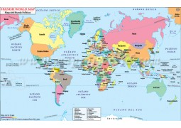 World Map with Countries in Spanish