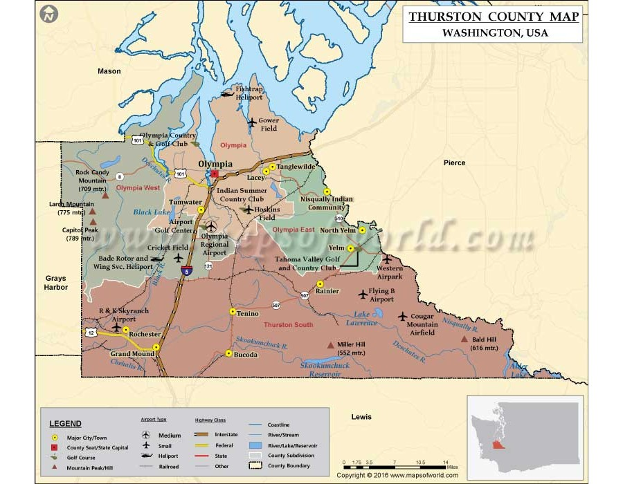 thurston county zip code map Buy Thurston County Vinyl Map Washington