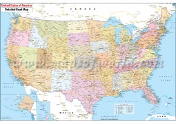 Large Road Map of USA (28 X 18 Inches)