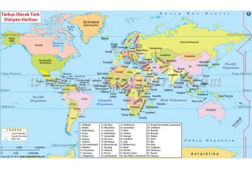 Dünya Haritası (World Map in Turkish Language)