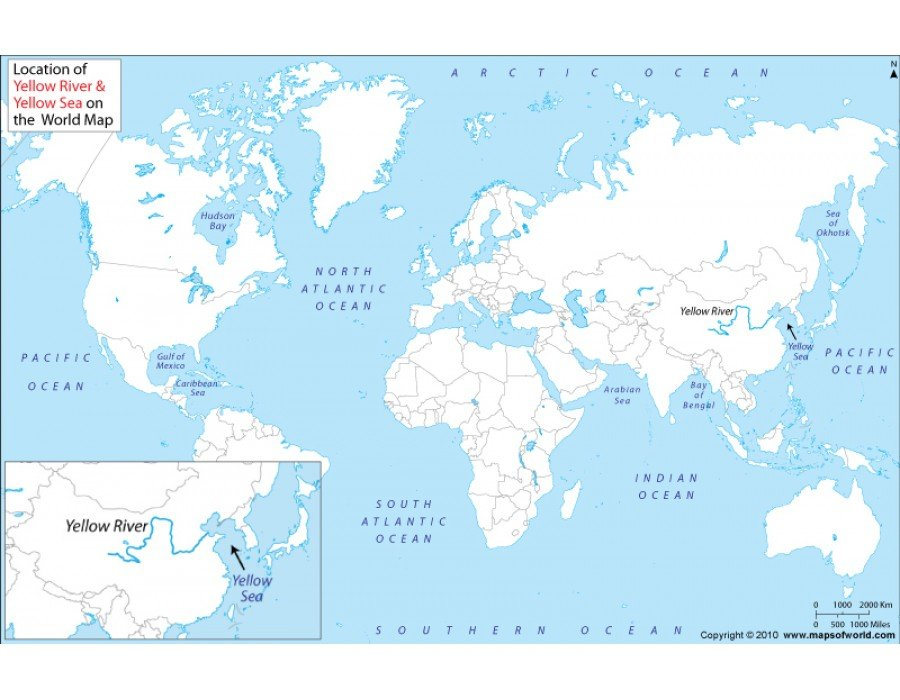 Yellow River World Map Buy Yellow River and Yellow Sea Location Map
