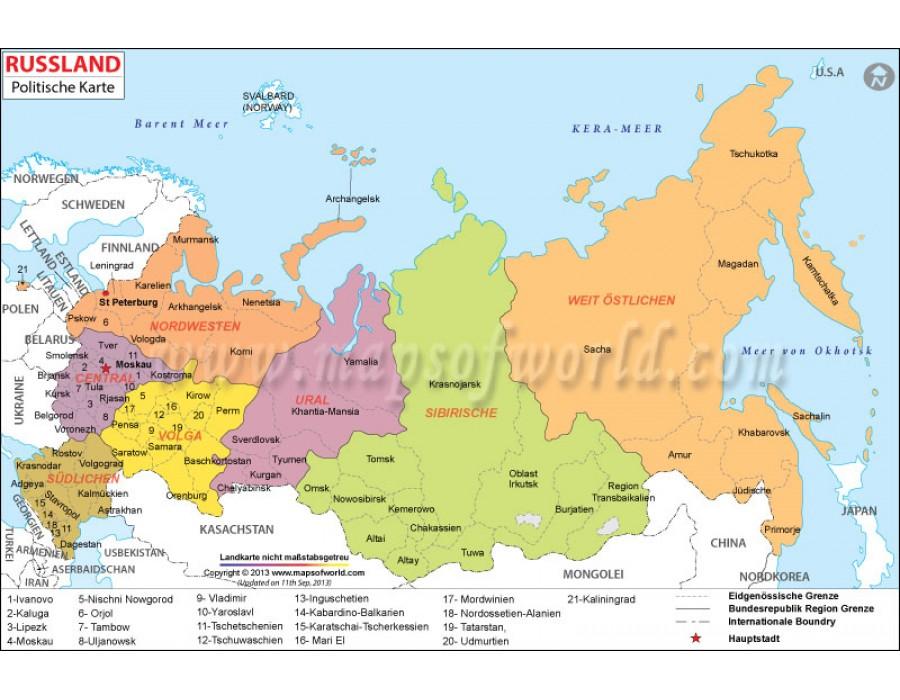 Buy Shop Russland Politische Karte Russia Political Map In