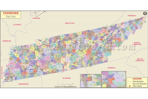 Tennessee Zip Code Map
