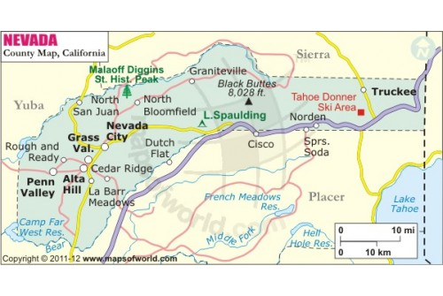 Nevada County Map, California