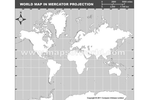 World Outline Map in Mercator Projection (Grayscale)